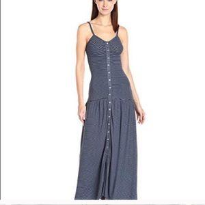 Mara Hoffman blue button down stripped maxi dress